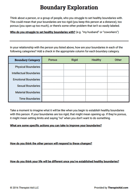 Boundaries Exploration (Worksheet | Therapy worksheets ...