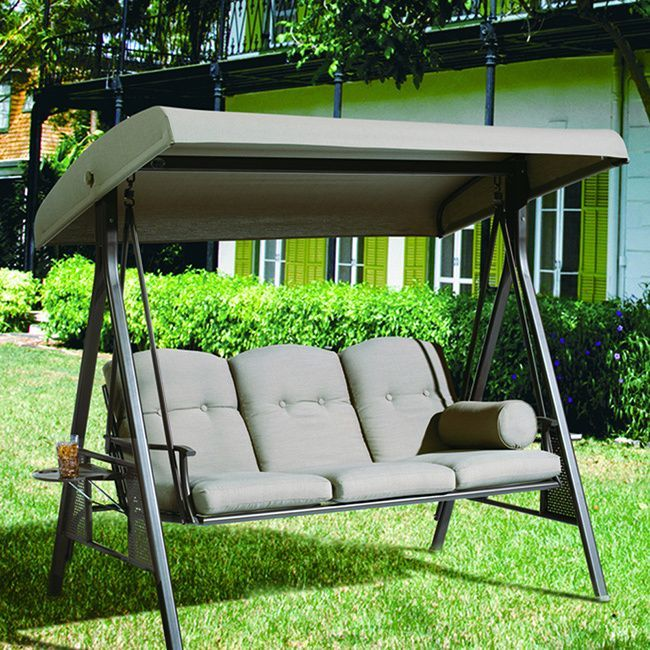 Abba Patio Abba Patio 3 Seat Outdoor Polyester Canopy Porch Swing Hammock with Steel Frame and Adjustable Canopy Taupe : swing seat canopy fabric - memphite.com