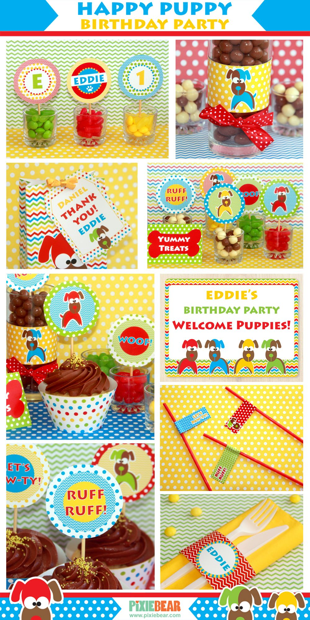 DIY Puppy Birthday Set by PixieBearParty on Etsy