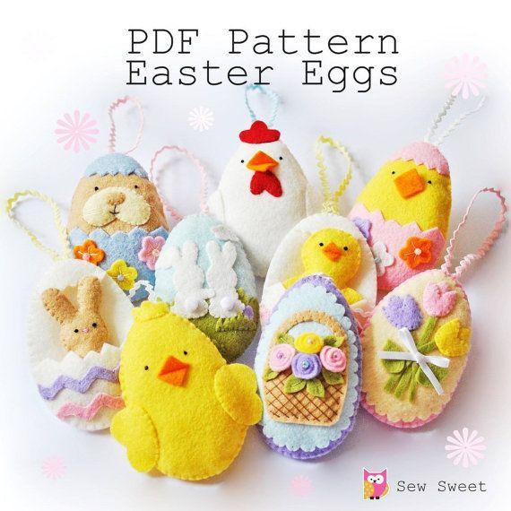 Easter Eggs nastaviť jednu PDF vzor, okamžité sťahovanie, šiť svoj vlastný, kutilstvo, šitie projektu, šablóny, vlnenej plsti