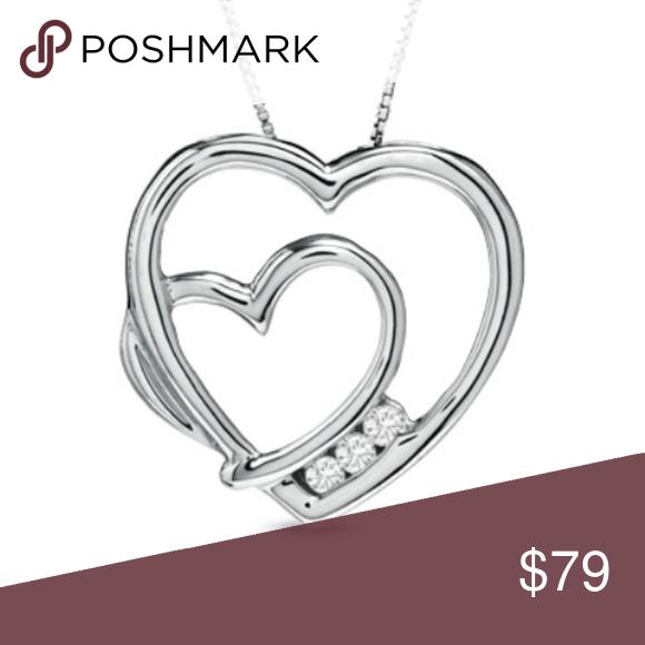 Zales White Sapphire Double Heart Pendant Necklace Heart Pendant Necklace Sterling Silver Pendants Heart Pendant