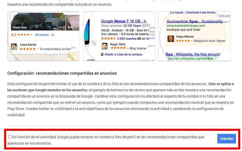 Cómo evitar que nuestro nombre y foto de Google+ aparezca en anuncios de Google