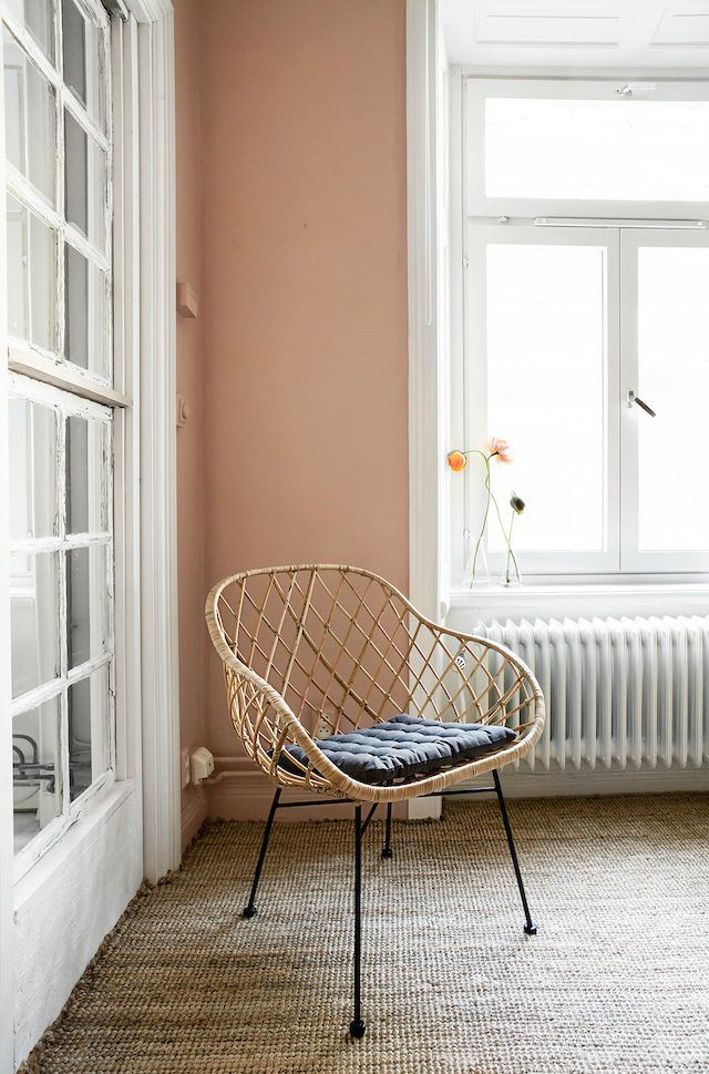 Rattan chair in a fab pink, grey and monochrome small Stockholm pad
