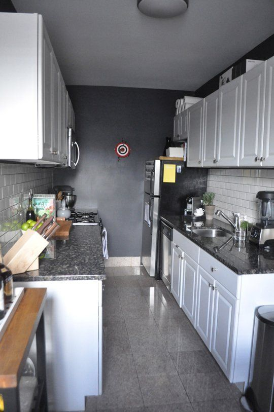A Black And White Galley Kitchen Kitchen Remodel Small White