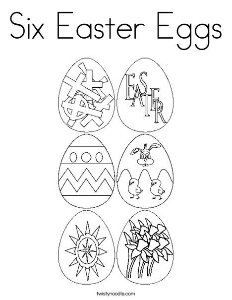 Six Easter Eggs Coloring Page - Twisty Noodle | Easter egg ...