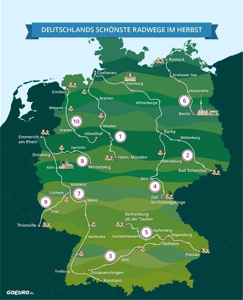 radwege deutschland karte Karte Radwege in Deutschland | Radtour in 2019 | Radwege