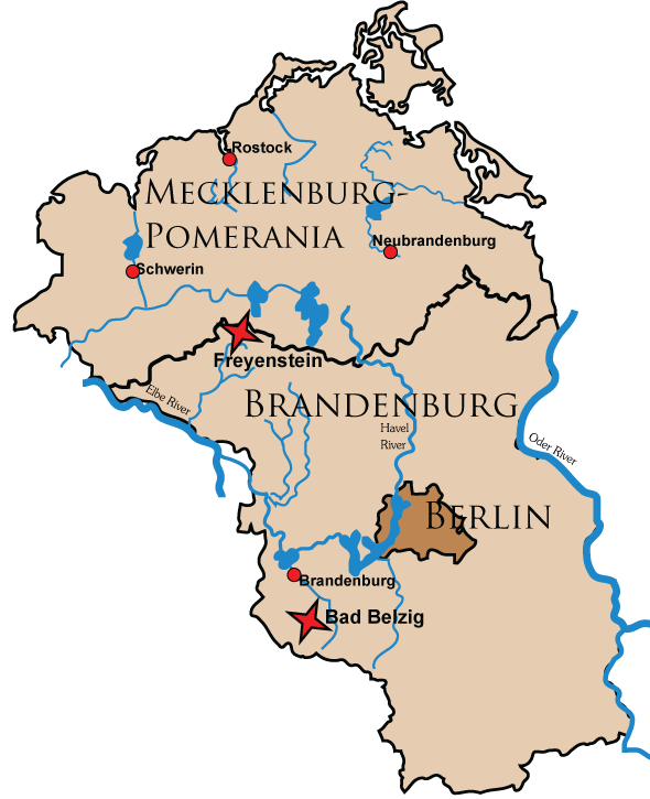 castle locator map of the german states of brandenburg and mecklinburg western pomerania