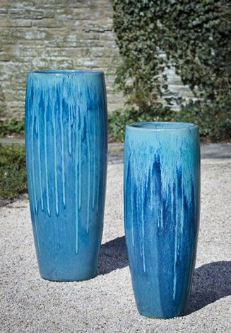 Sabine Tall Planter In Bahama Blue By Campania International Tall Planters Blue Planter Planter Pots Outdoor