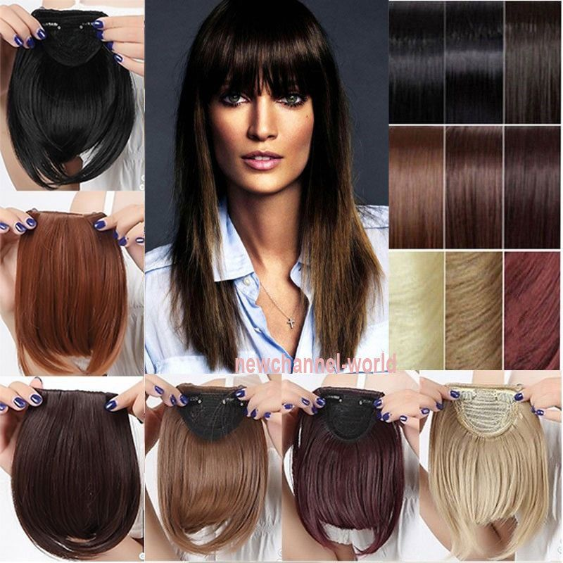 Us Real Thick Straight Bang Clip In On Fringe Hair Extensions As