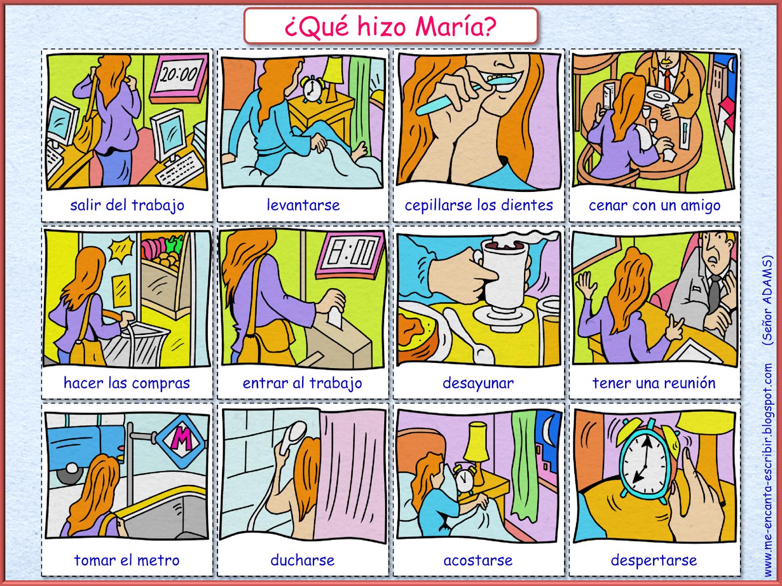 Me encanta escribir en español: ¿Qué hizo María? (el ...