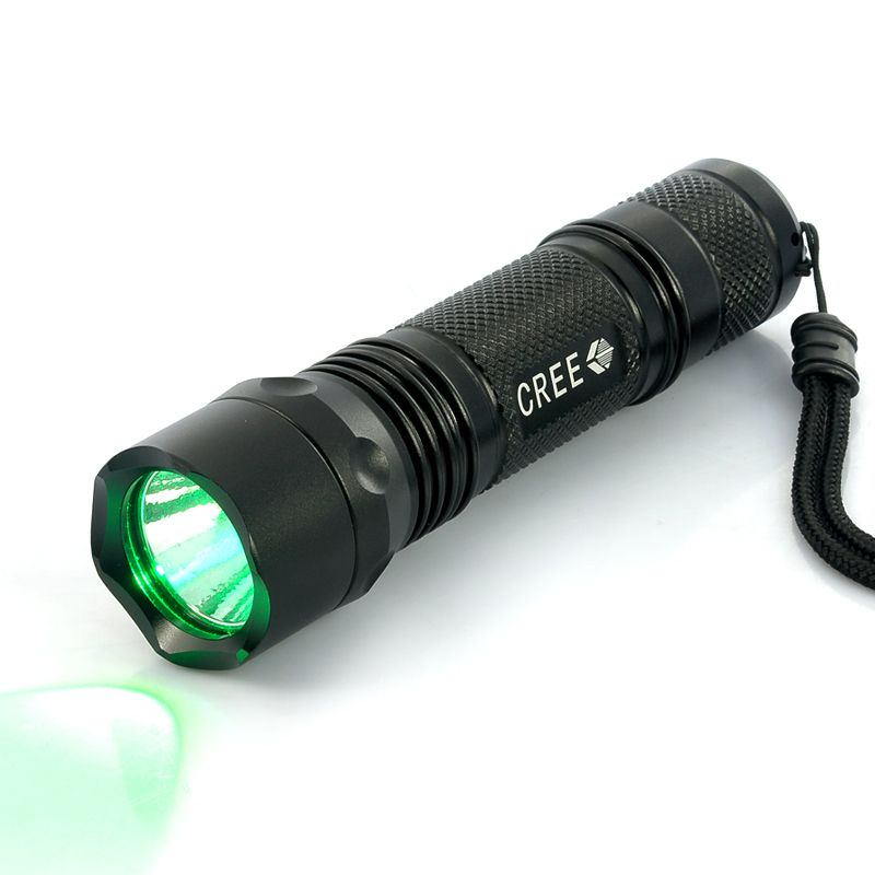 Cree R5 Led Hunting Flashlight 300 Lumens Green Light