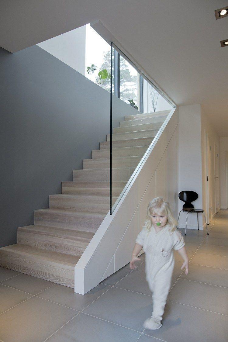 Escalier Droit Sans Rampe pour escalier en bois moderne- tous les modèles en 55 photos! | garde