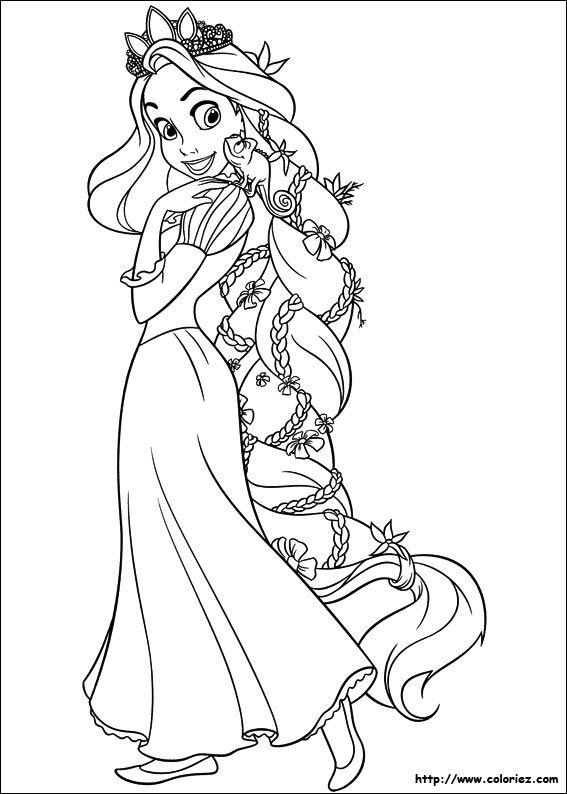 Coloriage coloriage de pascal sur les cheveux de raiponce drawing coloriage princesse - Coloriage disney princesse ...