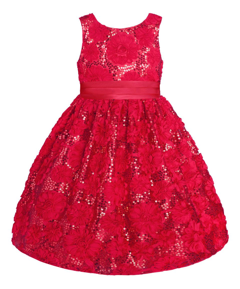 75e561d056d1 Love this Holiday Red Rose Sequin A-Line Dress - Toddler & Girls by Couture  Princess on #zulily! #zulilyfinds