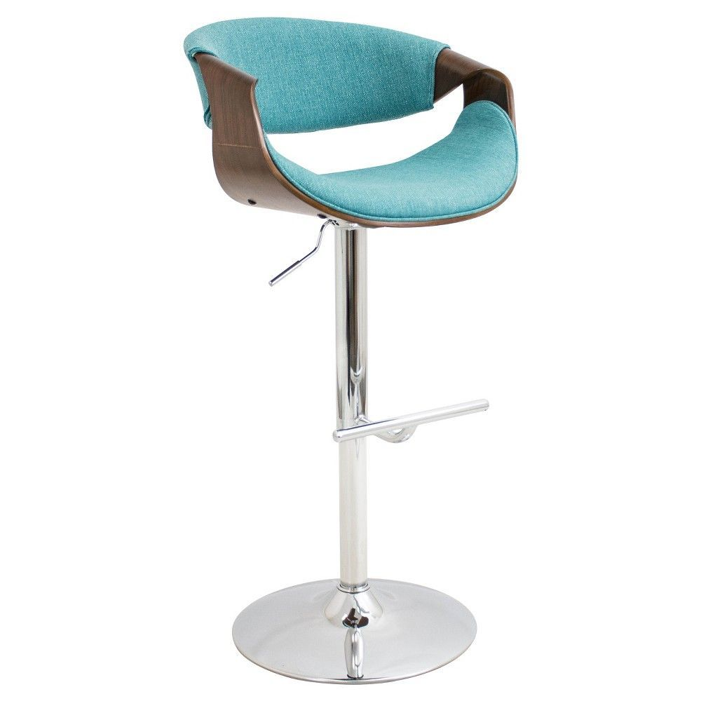 Surprising Curvo Mid Century Modern Adjustable Barstool Teal Ocoug Best Dining Table And Chair Ideas Images Ocougorg