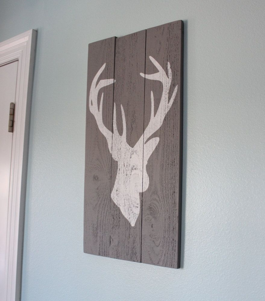 grey and white distressed deer head silhouette wood sign - art