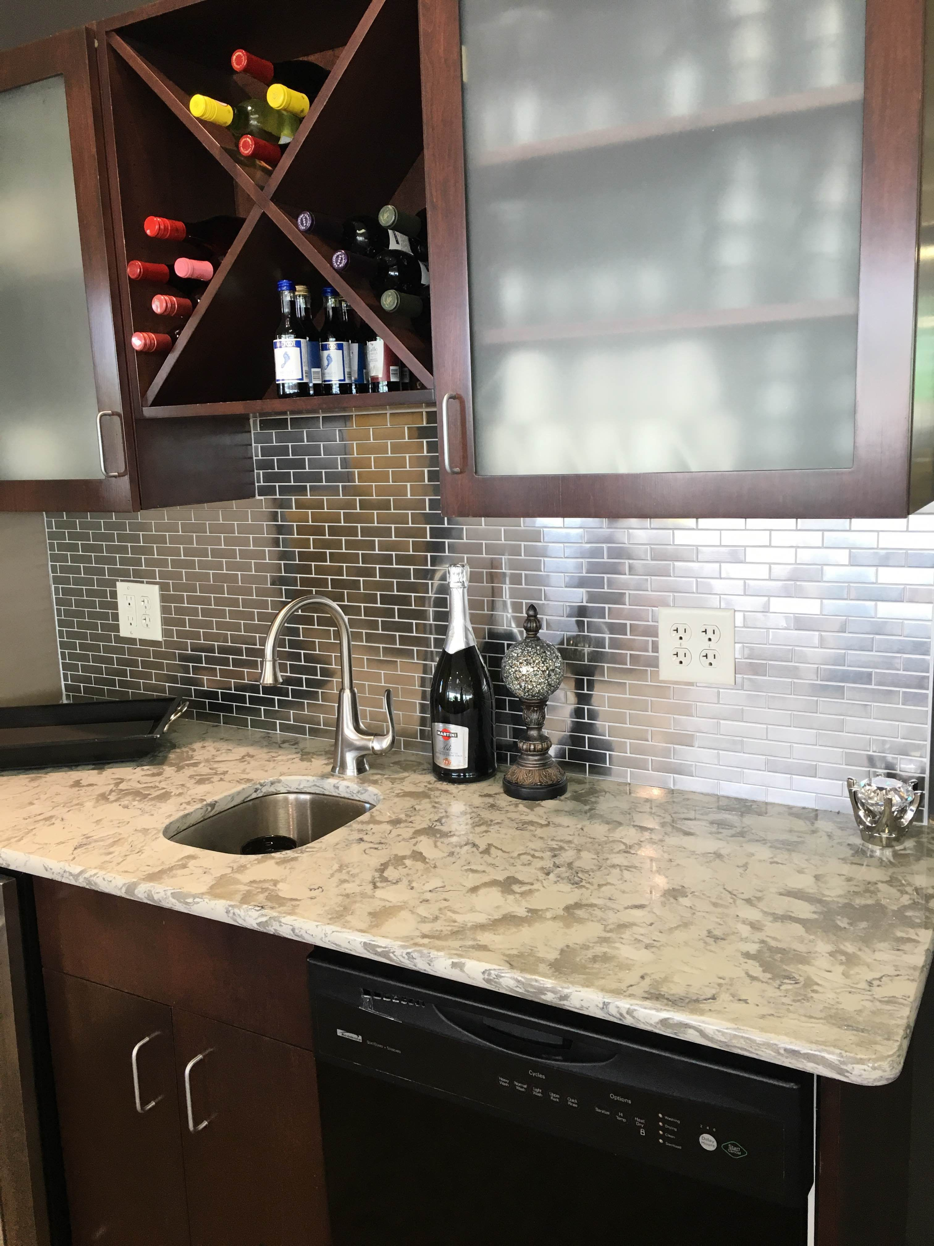 Stunning Bar Remodel Using Stainless Steel Mosaic Tile 1 X2 Back