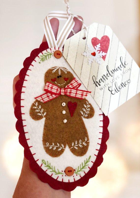 PATTERN Felt snowman and Gingerbread Christmas ornament, christmas