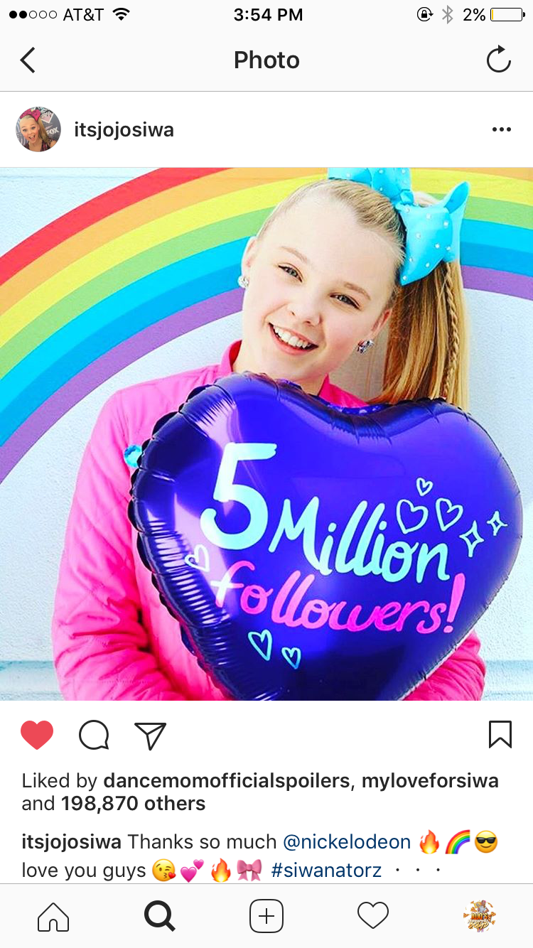 Jojo siwa has 5 million followers on instagram jojo siwa has 5 million followers on instagram kristyandbryce Image collections