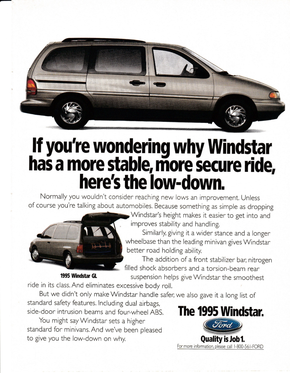 1995 Ford Windstar Minivan Quality Is Job 1 Automobile Original Magazine Ad Ford Windstar Mini Van Ford