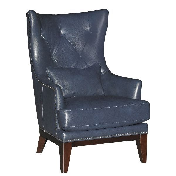 Cobalt Blue Leather Match Accent Chair Brewster Blue Leather