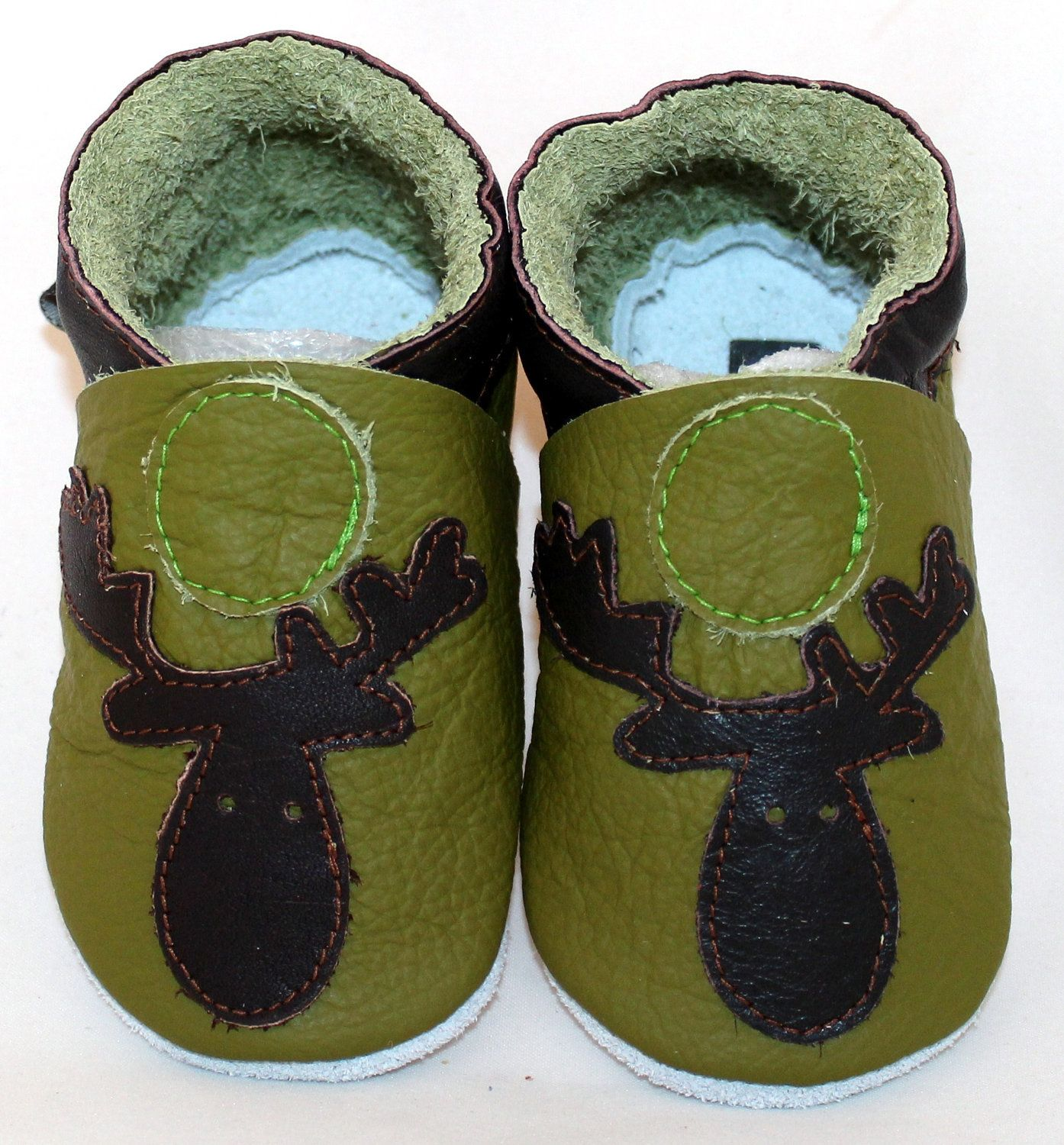 Mini Toes soft sole leather BABY shoes green Moose pick your size