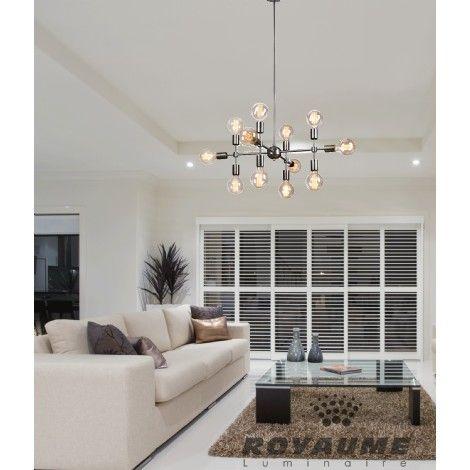 luminaire suspendu au fini argent bross id al pour salle manger escalier chambre coucher. Black Bedroom Furniture Sets. Home Design Ideas