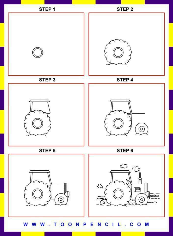 How to draw a john deere tractor