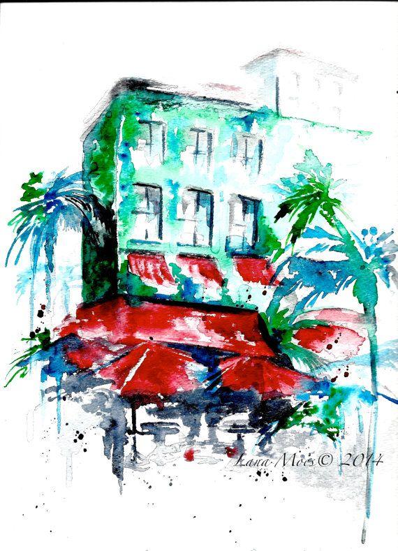 Art Deco Miami Print from  Original Watercolor Painting - LanasArt - Miami Beach - Ocean Drive Miami