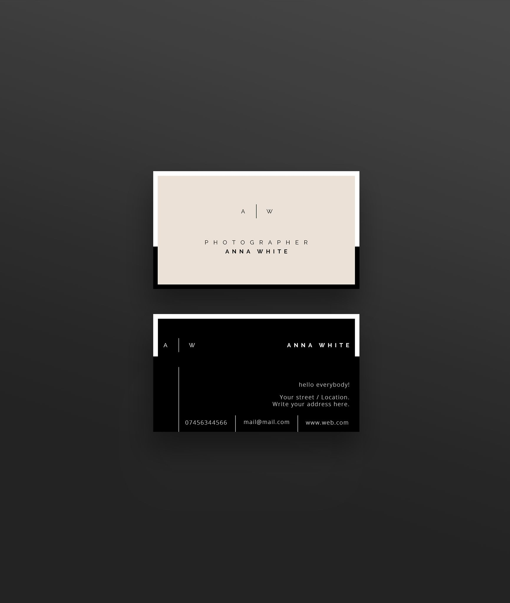 Business Card Template For Adobe Photoshop Psd File Minimalist Clean Elegant Double Sided Design Fully Adjustable Clean Business Card Design Graphic Design Business Card Name Card Design