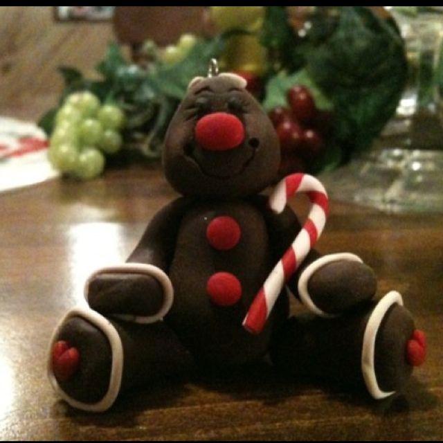 Polymer clay gingerbread man Christmas ornament