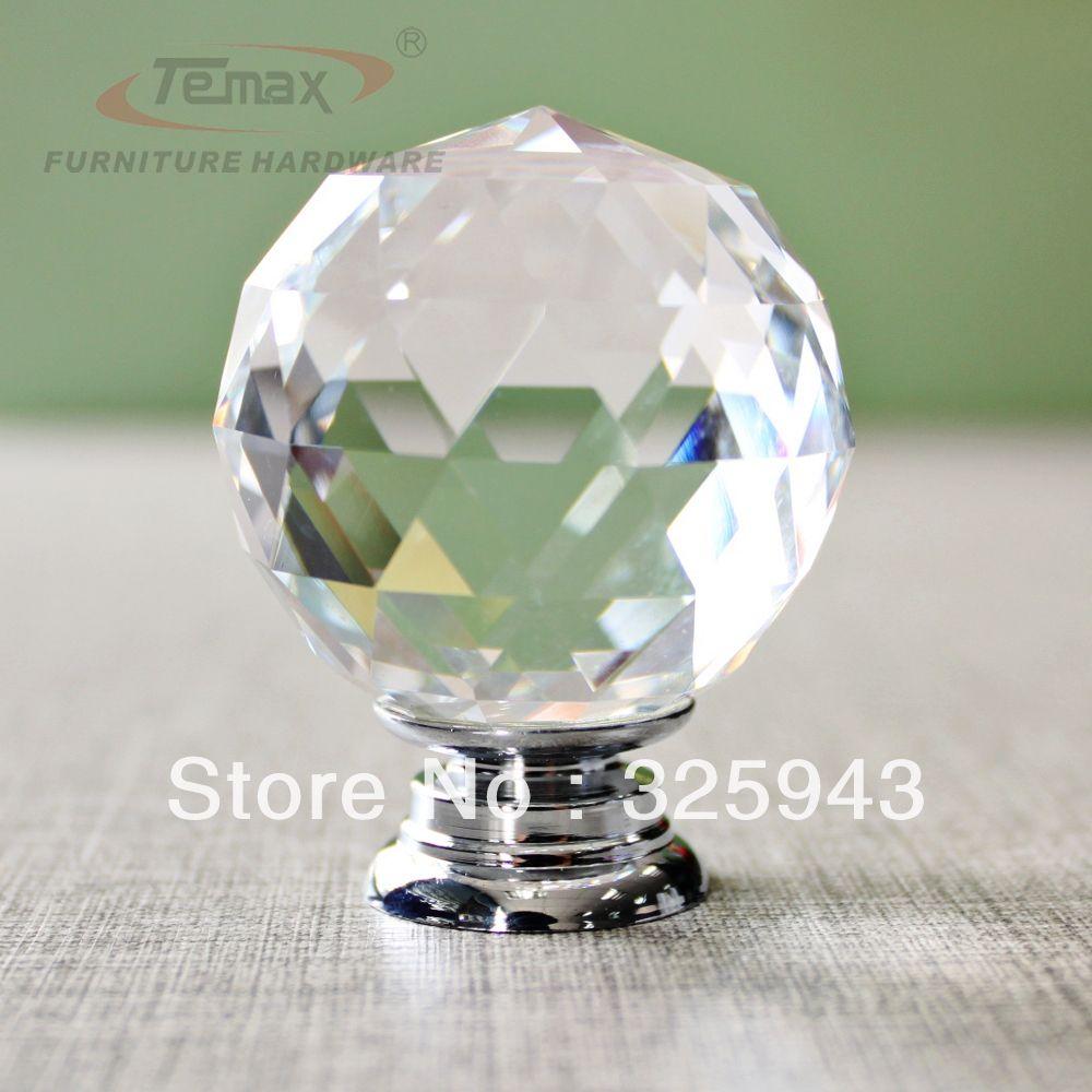 2X40mm Clear Round Glass Cabinet Drawer Crystal Knobs And Handles Dresser  Door Knob Kids Bedroom Kitchen