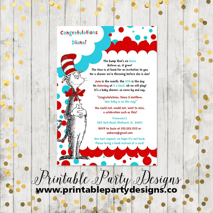 Dr. Seuss, Cat In The Hat, Birthday Party Invitation | Dr. Seuss ...