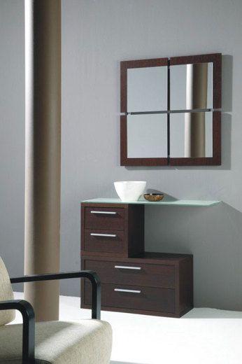 Meuble Du0027entrée Contemporain Avec Miroir VERMEER, Coloris Wengé, Avec  étagère En Verre Conception