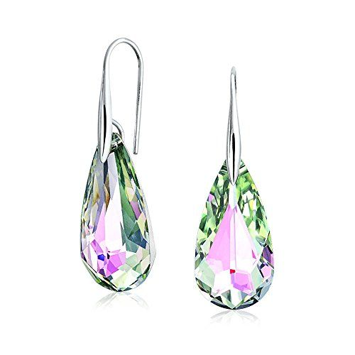 Bling Jewelry Sterling Silver Crystal Briolette Pink Teardrop Dangle Earrings *** Click image to review more details.