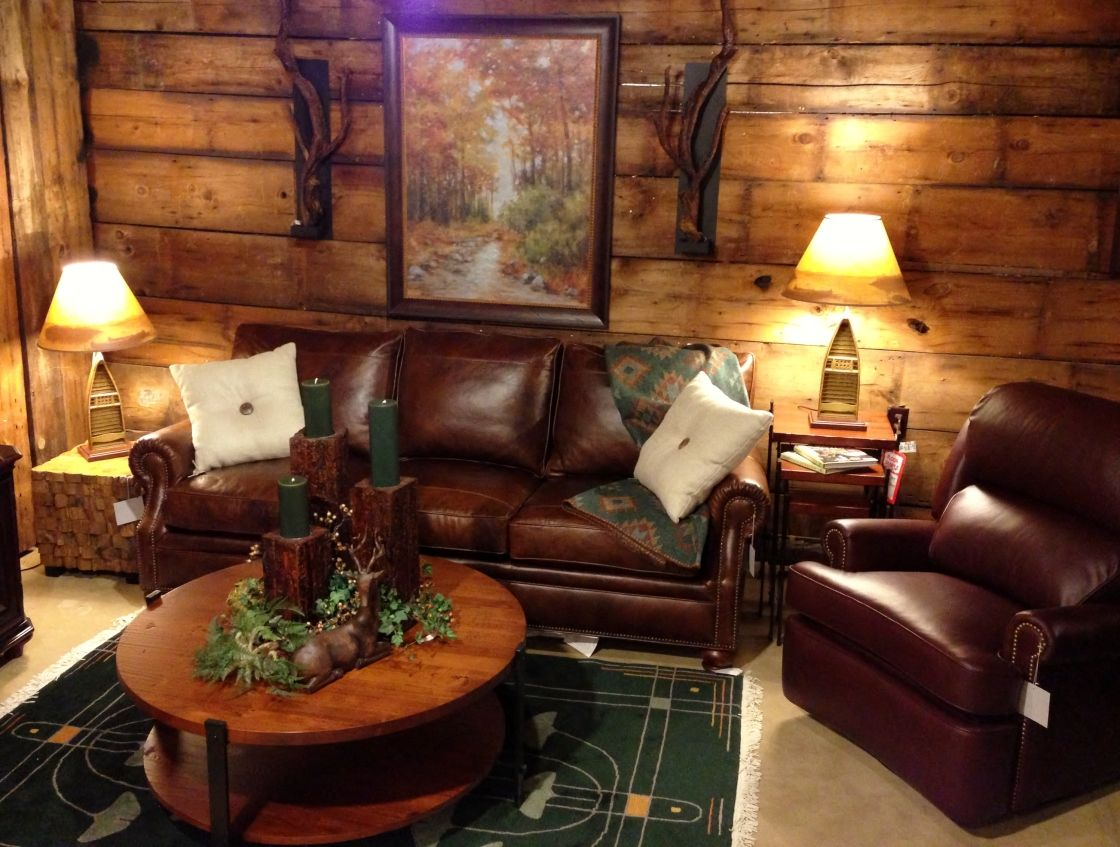 Log Cabin Small Living Room Ideas With Brown Leather Sofa And Brown