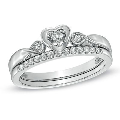 diamond heart shaped bridal set in white gold view all jewelry gordons jewelers - Heart Shaped Wedding Ring Sets