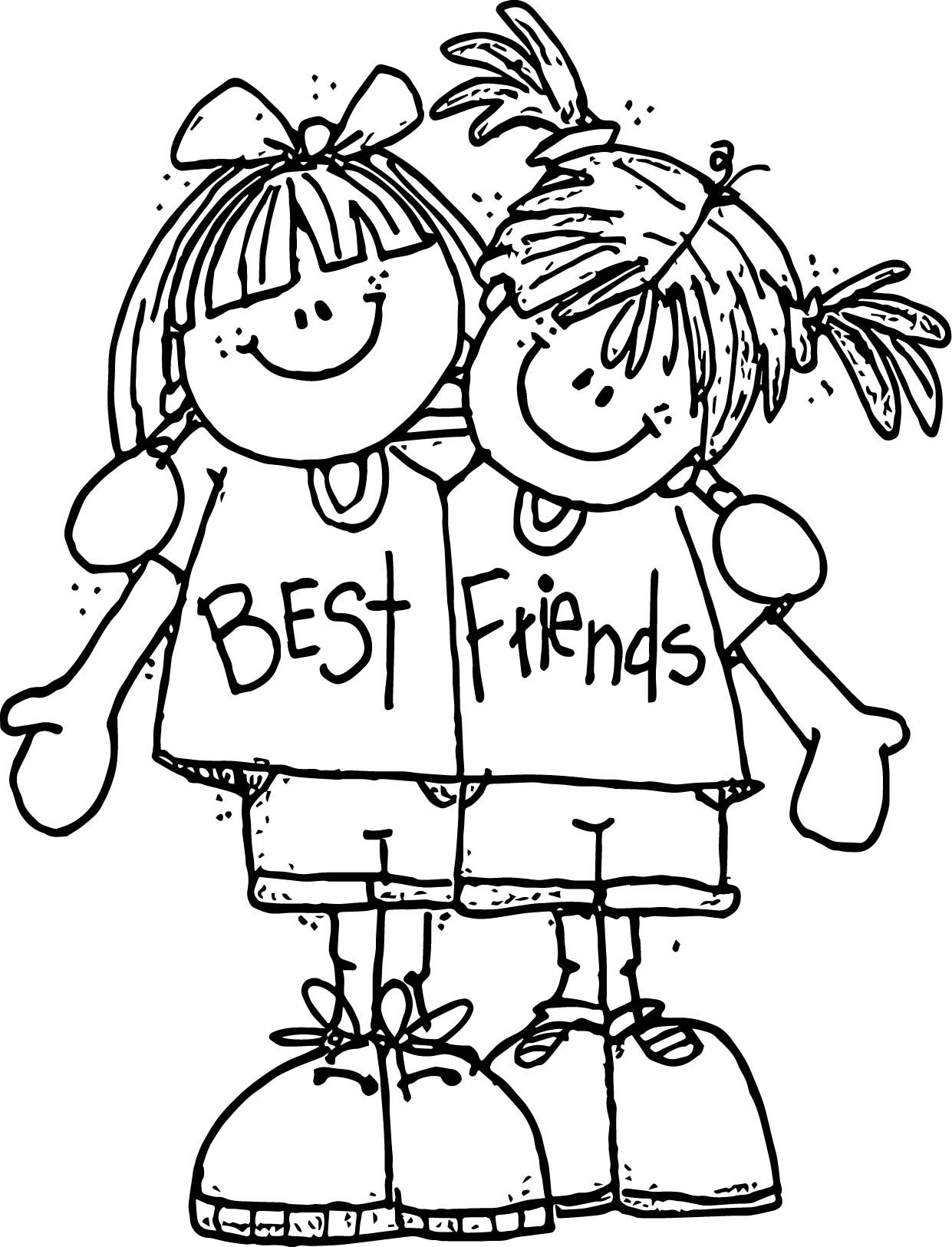 awesome Best Friends Friendship Coloring Page Emoji
