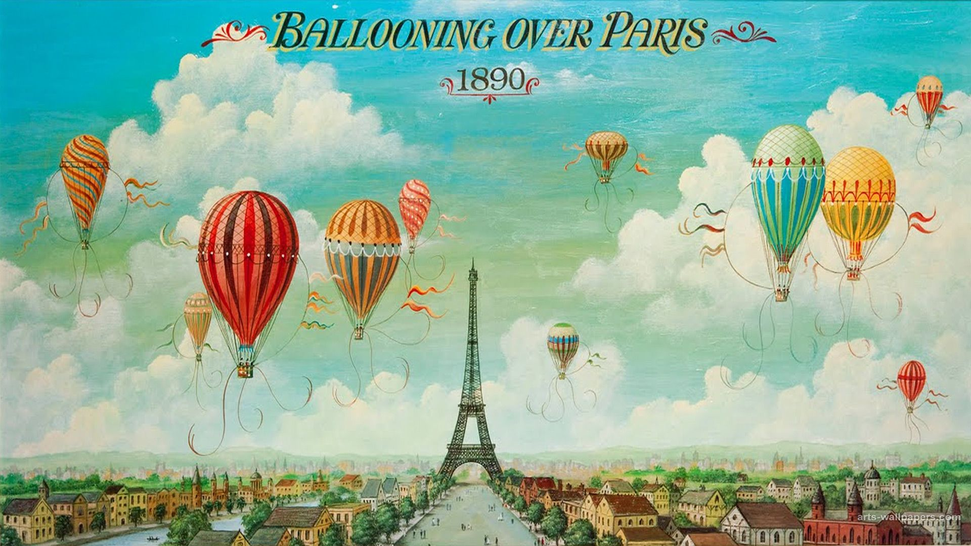 Art Posters Ballooning Over Paris 1890 Wallpaper Vintage Poster