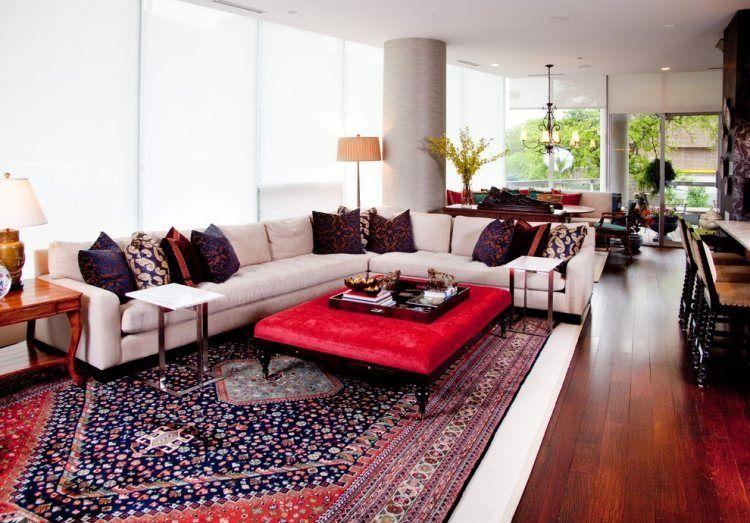 tapis persan dans le salon contemporain