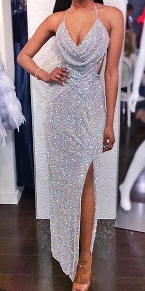 Sparkly Mermaid Sexy Backless Slit Sequin Prom Dresses, FC2211 #formaldresses