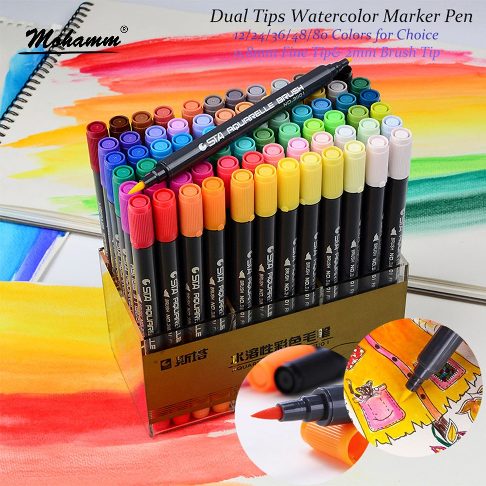 Sta 12 24 36 48 80 Colors Dual Tips Watercolor Brush Marker Pen