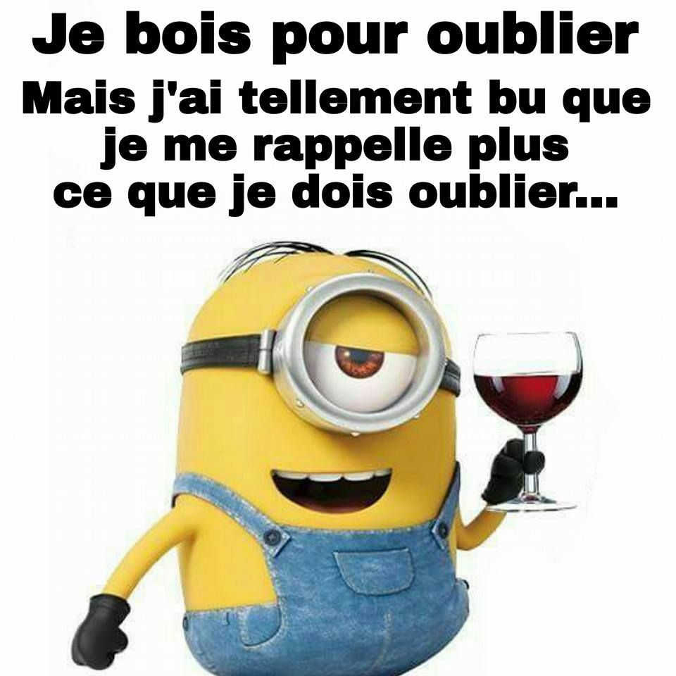 Boire pour oublier minions les minions compl tement fan pinterest citations dr les - Les minions bonne annee ...