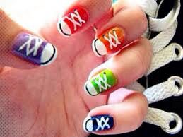 Cute Converse nails! Blue-Red-Orange-Green-Blue! Anyone for rainbow converse?
