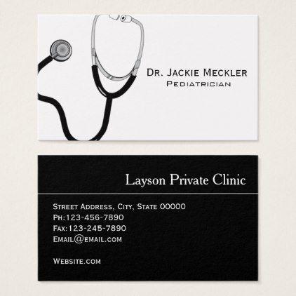 Simple Stethoscope Pediatrician Business Card