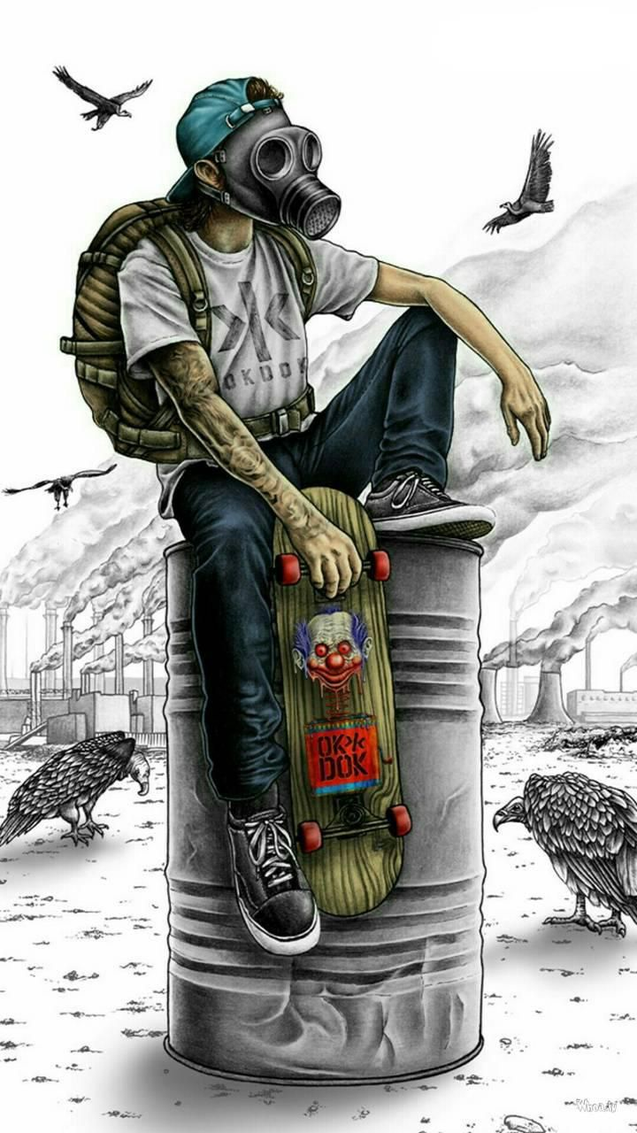 Boy Wearing Mask Sitting With Skate Board Mobile