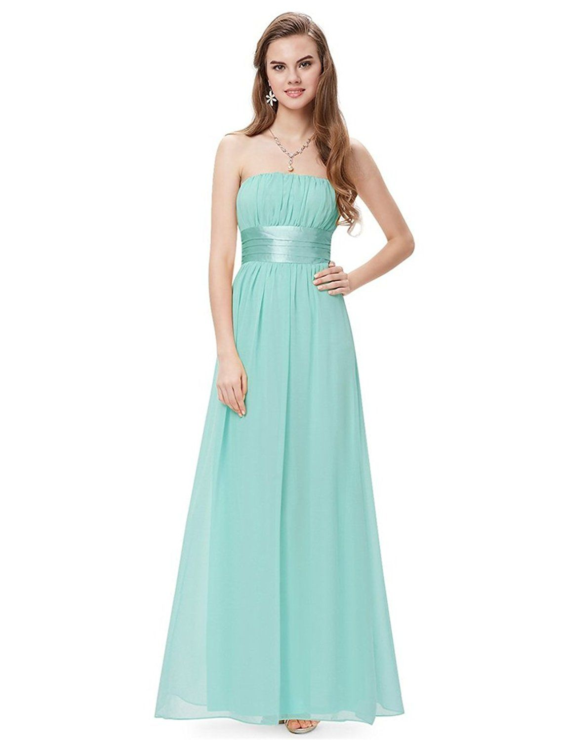 Simpledress Simple Strapless Empire Waist Bow Sash Show Toes Evening ...