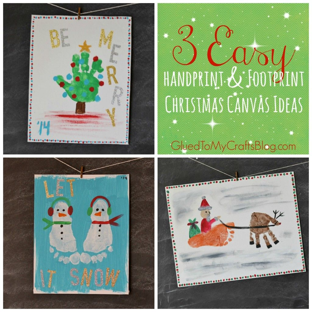 Handprint & Footprint Christmas Canvas Ideas | Christmas canvas ...