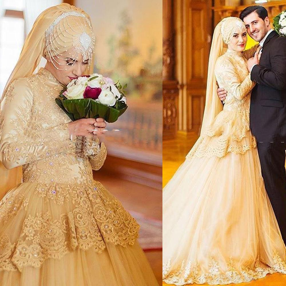 Click to buy 2016 gold muslim wedding dresses princess with vestidos muslim wedding dress with long sleeves a line high neck lace applique beads champagne bridal gown onestop wedding store ombrellifo Image collections