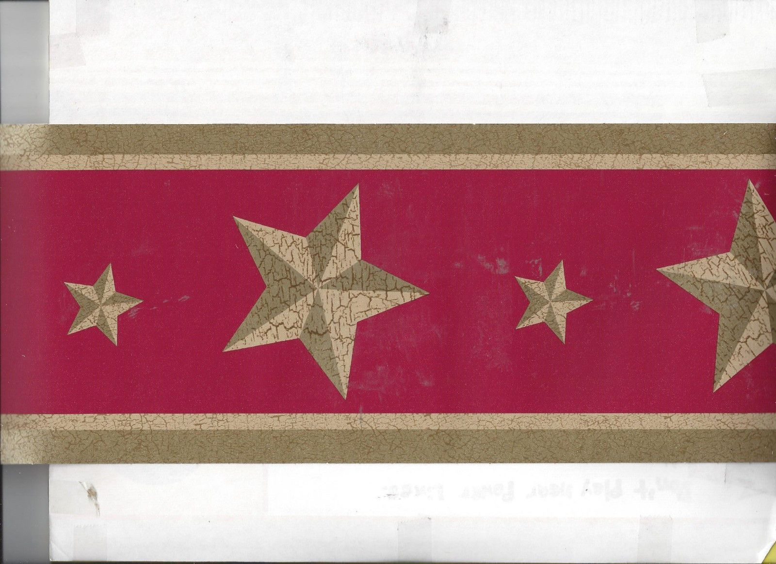 Details about WALLPAPER BORDER STARS ON RED COUNTRY